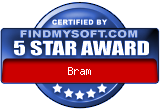 Five stars for Bram on FindMySoft.com!