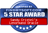 Sandy Cristel's Interactive Lenormand Oracle Five Star Award From FindMysoft.com