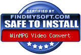 WinMPG Video Convert awarded safe to install on findmysoft.com