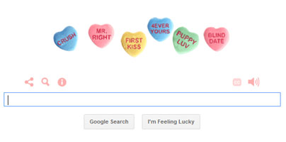 Google Doodle for Valentine's Day Features Candy Hearts and