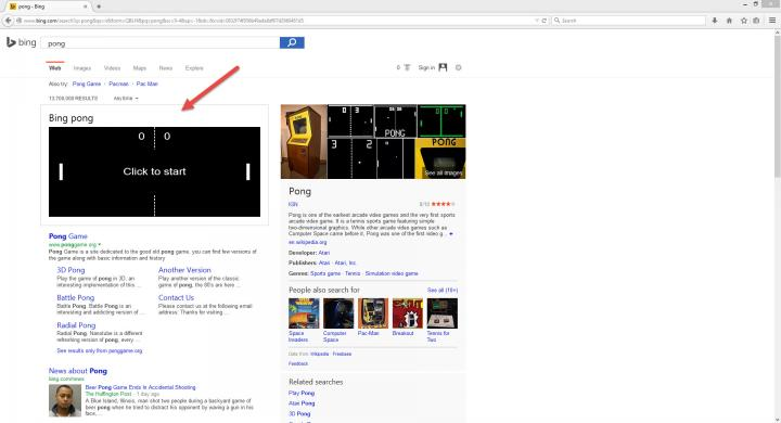 play pong on microsoft s bing search engine