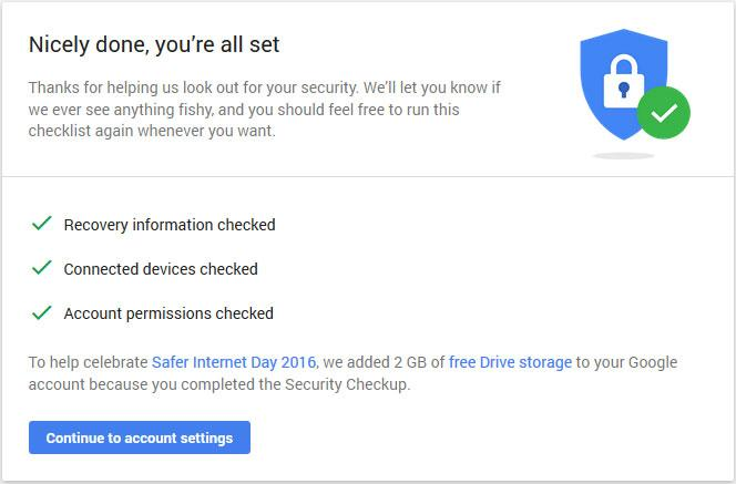 Complete a Quick Security Checkup, Get 2GB of Free Google