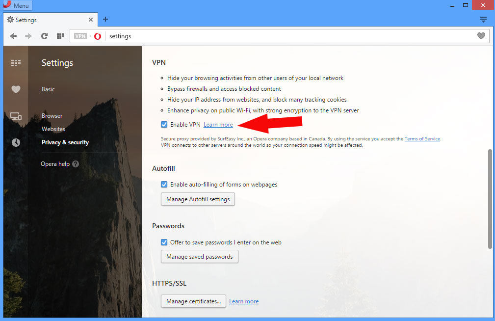 Free VPN in the Opera browser - surf the web with enhanced privacy.