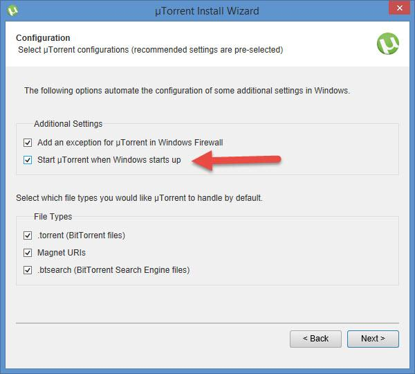 how to change startup option of utorrent