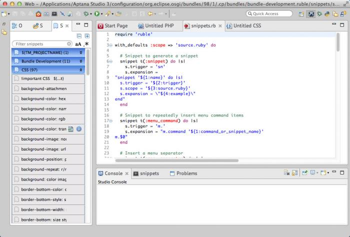 View Aptana Studio(Mac) screenshot