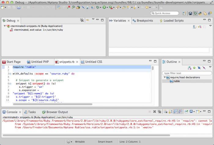 View Aptana Studio(Mac) screenshot