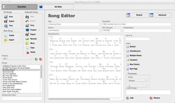View OpenSong(Mac) screenshot