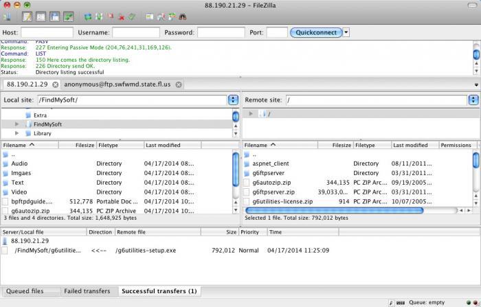 View FileZilla(Mac) screenshot