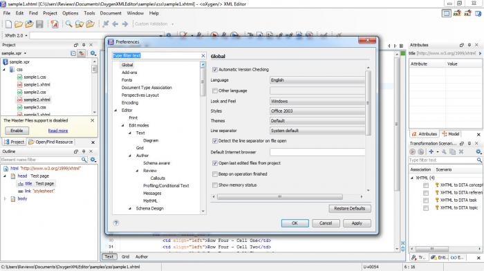 View oXygen XML Editor screenshot