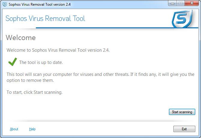View Sophos Virus Removal Tool screenshot