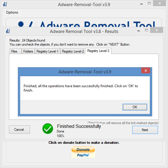 View Adware Removal Tool screenshot