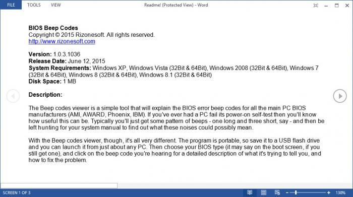 View BIOS Beep Codes Viewer screenshot