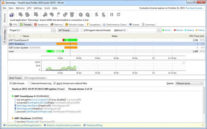 View YourKit Java Profiler screenshot