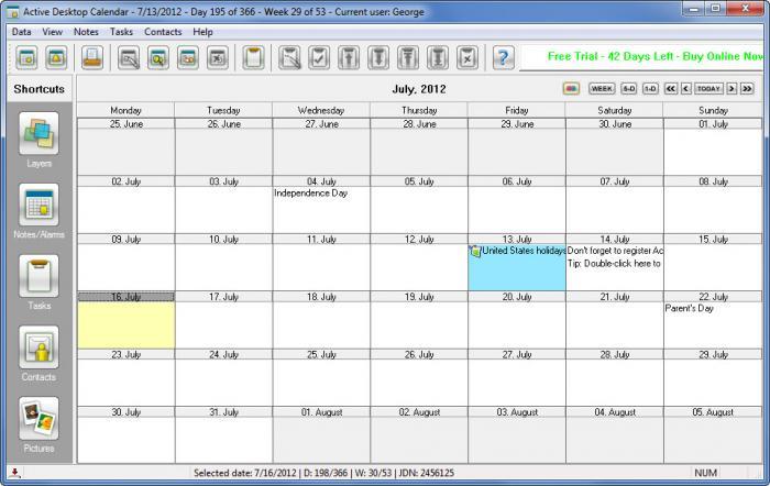 Desktop Calendar 7 : View active desktop calendar screenshot