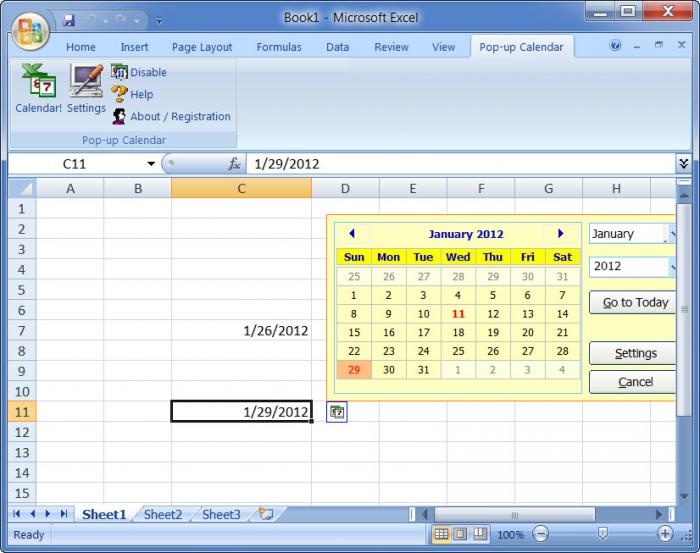 Импорт календаря в excel