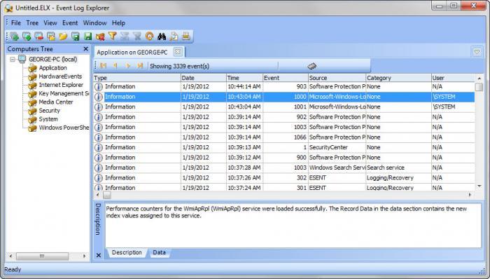 View Event Log Explorer screenshot