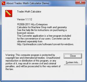 Enlarge Trades Math Calculator Screenshot