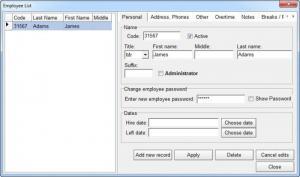 Enlarge TimeClockWindow Screenshot