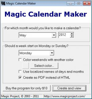 Enlarge Magic Calendar Maker Screenshot