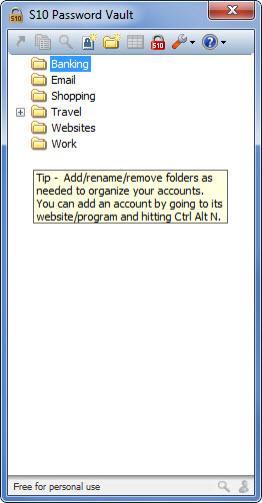 Enlarge S10 Password Vault Screenshot