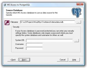 Enlarge Access to PostgreSQL Screenshot