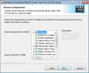 Enlarge Windows Essentials Codec Pack Screenshot