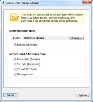 Enlarge Outlook Email Address Extractor Screenshot