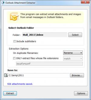 Enlarge Outlook Email Attachment Extractor Screenshot