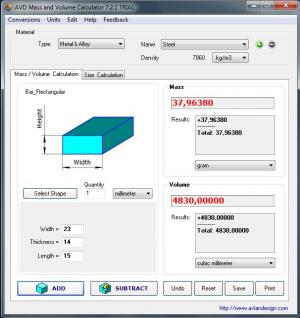 Download AVD Mass and Volume Calculator Free