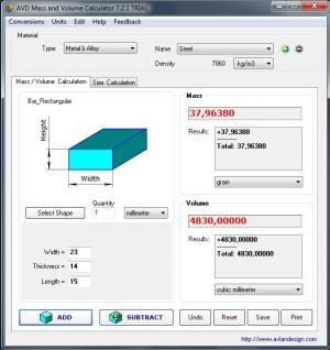 Enlarge AVD Mass and Volume Calculator Screenshot