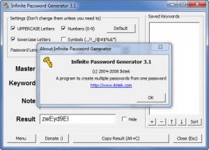 Enlarge Infinite Password Generator Screenshot