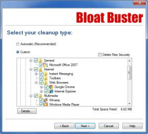 Enlarge Bloat Buster Screenshot