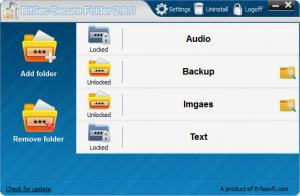 Enlarge BitSec Secure Folder Screenshot