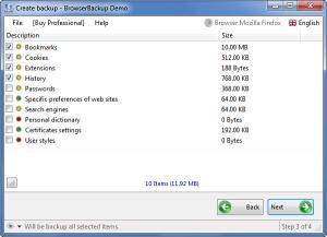 Enlarge BrowserBackup Screenshot