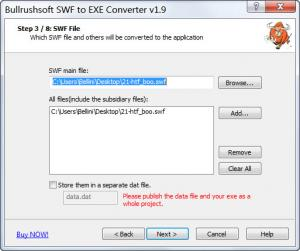 Enlarge Bullrushsoft SWF to EXE Converter Screenshot