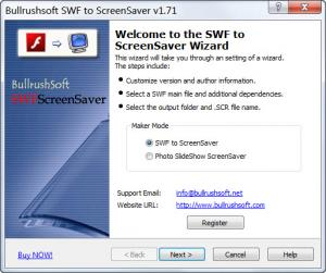 Enlarge Bullrushsoft SWF to ScreenSaver Screenshot