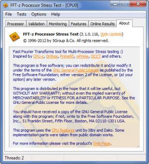 Enlarge FFT-z Processor Stress Test Screenshot