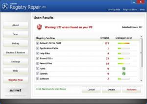 Enlarge Simnet Registry Repair Screenshot
