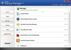 Enlarge Simnet Startup Manager Screenshot