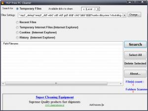 Enlarge HLP Free PC Cleaner Screenshot