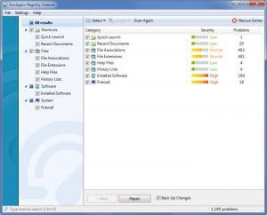 Enlarge Auslogics Registry Cleaner Screenshot