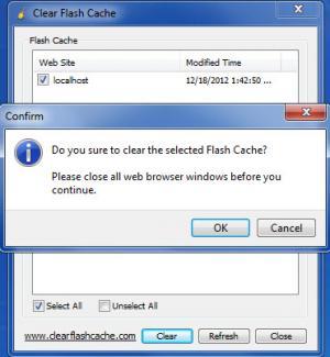 Enlarge Clear Flash Cache Screenshot