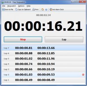 Enlarge Free Stopwatch Screenshot