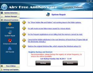 Enlarge Airy Free AntiSpyware Screenshot