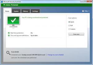 Enlarge Microsoft Security Essentials Screenshot