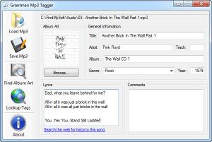 Enlarge Grantman Mp3 Tagger Screenshot