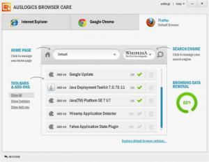 Enlarge Auslogics Browser Care Screenshot