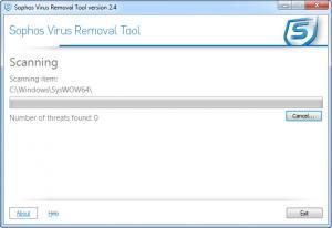 Enlarge Sophos Virus Removal Tool Screenshot