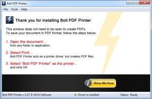 Enlarge Bolt PDF Printer Screenshot