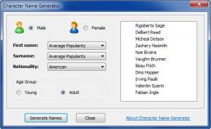 Enlarge Character Name Generator Screenshot